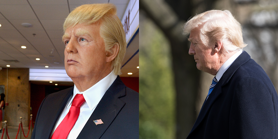 <p>The fact that this wax figure has more gravity-defying hair than the actual Donald Trump is truly impressive. It should do a video tutorial about how it got that look. </p>