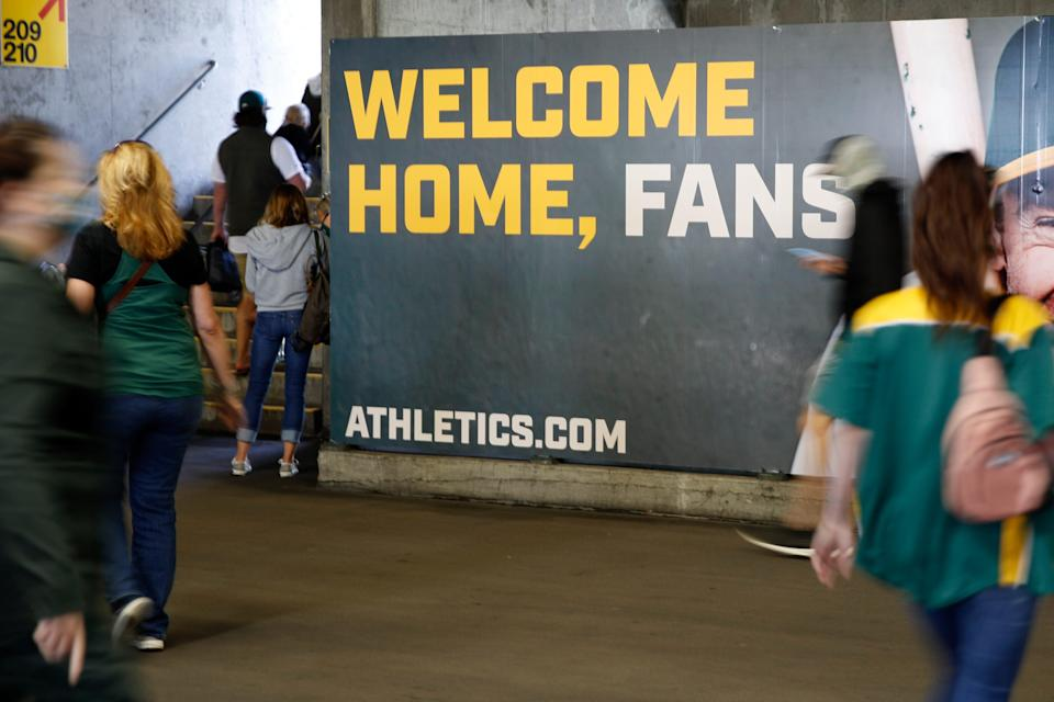A sign welcomes fans at Oakland Coliseum.
