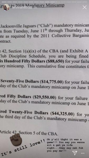 A screenshot of Tevin Smith's Instagram story reveals a notice of fines from the Jaguars after he skipped mandatory minicamp.