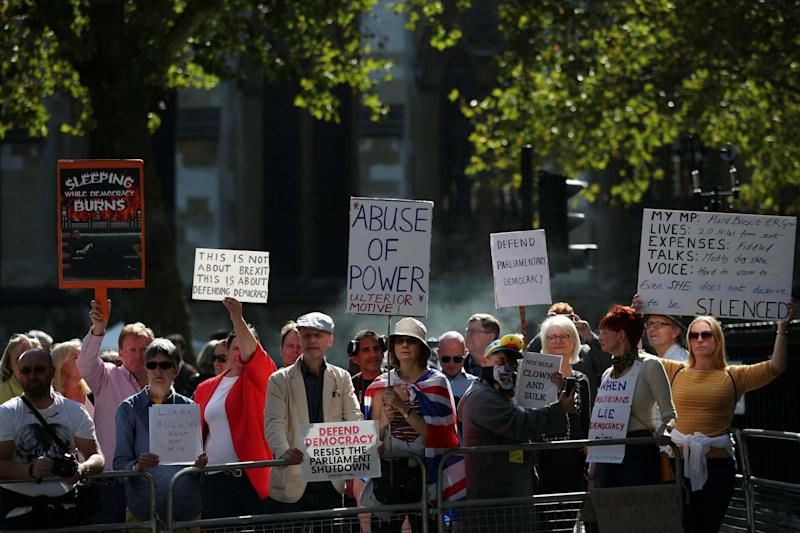 Anti-Brexit protesters demonstrate outside the Supreme Court in London. (REUTERS)