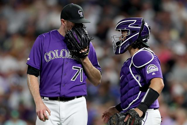 """Whatever the secret is, it's eluding <a class=""""link rapid-noclick-resp"""" href=""""/mlb/players/8174/"""" data-ylk=""""slk:Wade Davis"""">Wade Davis</a> (left) these days (Matthew Stockman/Getty Images)"""