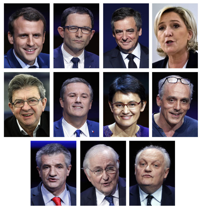 This combination of file photos show the eleven French official presidential candidates: Top from left: Emmanuel Macron, Benoit Hamon, Francois Fillon, Marine le Pen. Middle form left: Jean-Luc Melelchon, Nicolas Dupont-Aignan, Nathalie Arthaud, Philippe Poutou. Below from the left: Jean Lassalle, Jacques Cheminade, Francois Asselineau. Imagine if Americans elected a president who was neither Democrat nor Republican. France is facing a similarly shocking scenario: As the 11 candidates head into a debate Tuesday, the traditional left-right contenders are overshadowed by rivals pledging to turn today's system on its head. (AP Photo/Christophe Ena, Francois Mori, Michel Euler, Jean-Francois Badias, Files)