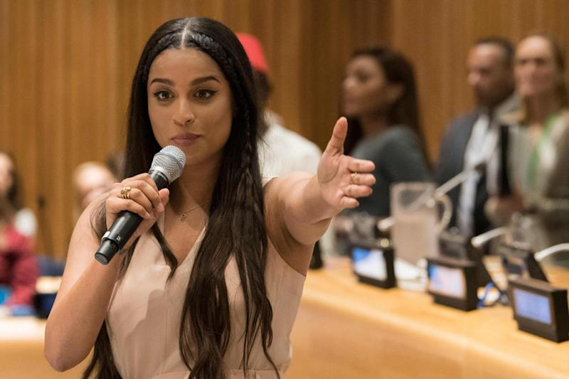 Lilly Singh speaks during a meeting focused on youth issues at the United Nations in September. The YouTuber has since said she is taking a break from her video channel: AFP/Getty Images