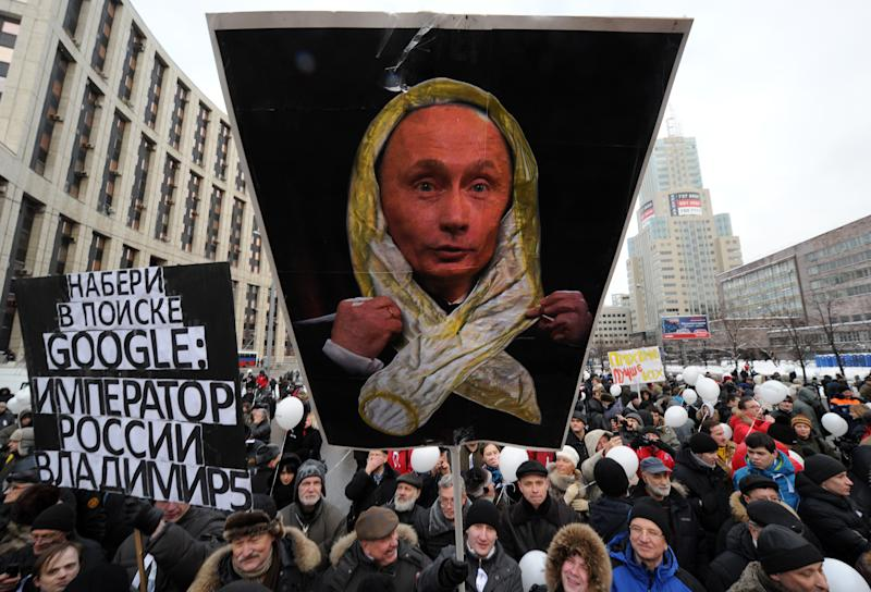 A December 2011 protest in Moscow against the alleged rigging of parliamentary polls. (Photo: Kirill Kudryavtsev/AFP/Getty Images)