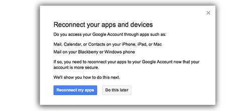 Google Reconnect your apps and devices screen