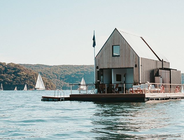 Lilypad is a floating house for rent on Palm Beach bay. Photo: Instagram