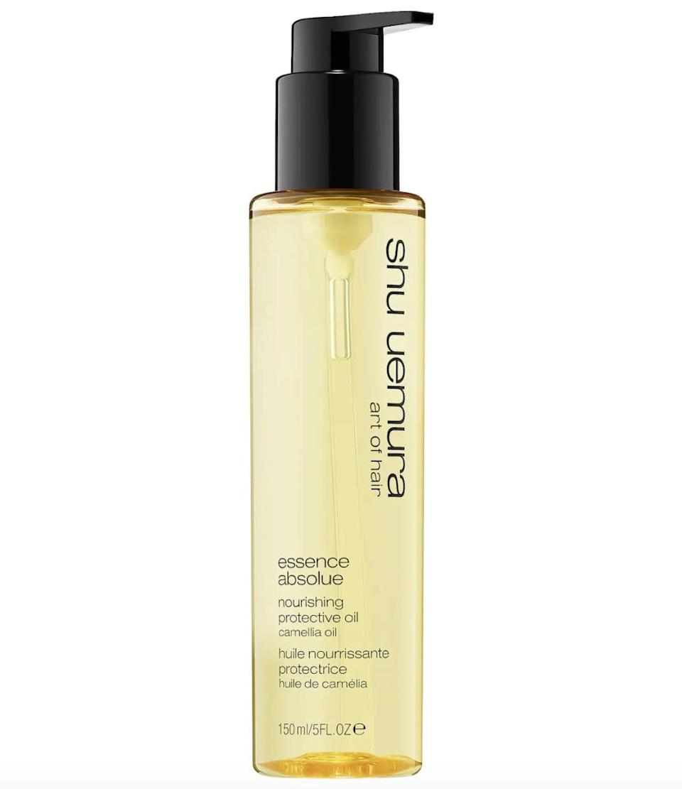 <p>The <span>Shu Uemura Essence Absolue Nourishing Protective Hair Oil</span> ($69) is a hairstylist favorite, as it's rich in camelia oil which can be quickly absorbed by the hair to provide subtle shine, moisture, and UV protection.</p>