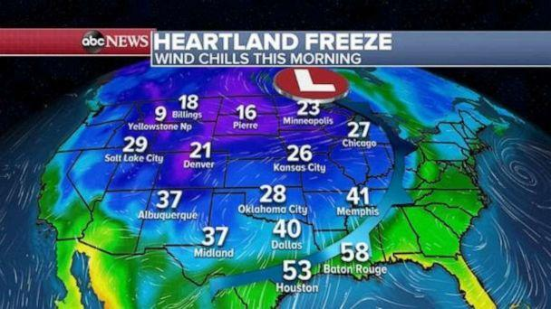PHOTO: Many Americans from the Rockies to the Gulf are waking up to the coldest air of the season Saturday morning. (ABC News)