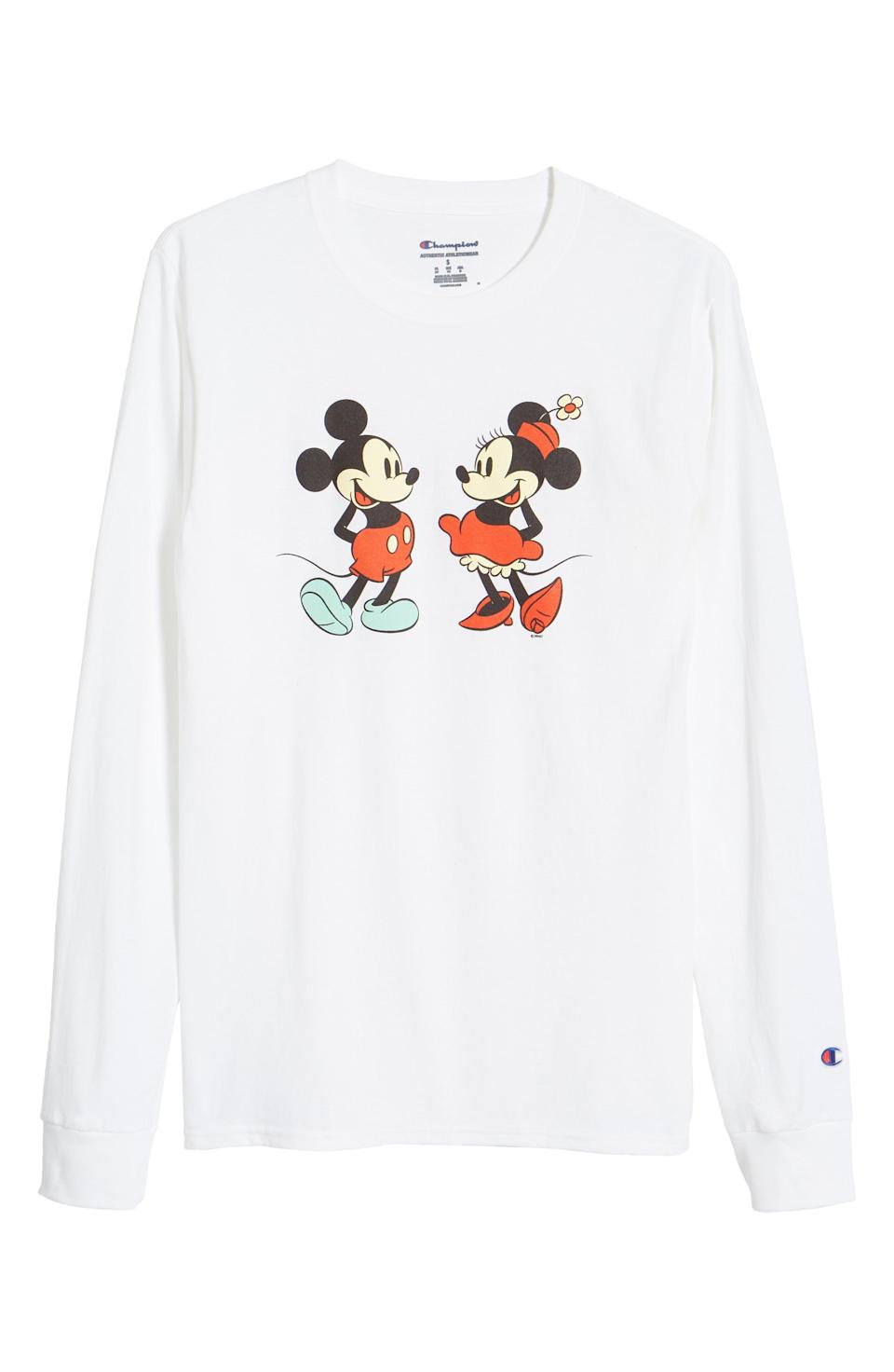 Champion's Mickey and Minnie long-sleeved T-shirt.