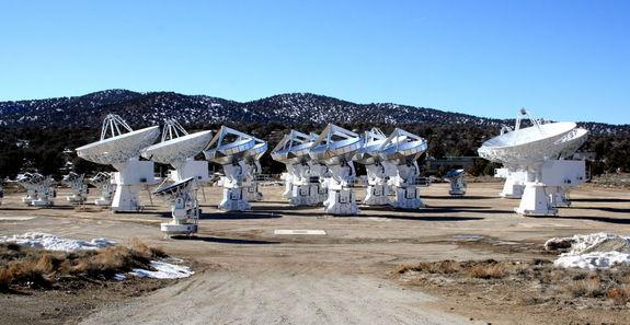 The CARMA telescope located in the Inyo Mountains in Eastern California. The combination of large and small dishes helped the authors zoom in on the gas in the center of NGC 4526.