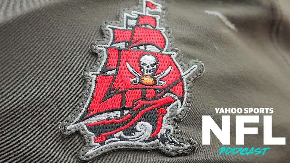 A patch of Tampa Bay Buccaneers logo on the old edition of their jerseys. The Buccaneers and Falcons revealed updated uniforms this week to lukewarm reviews. Terez Paylor & Charles Robinson discuss the trouble with new uniforms on the latest Yahoo Sports NFL Podcast. (Photo by James Gilbert/Getty Images)