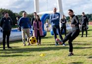 """<p>Kate took part in some friendly competition with her husband, William, during a trip to Northern Ireland whilst they visited the City of Derry Rugby Club. First up, football followed by a spot of rugby. </p><p>(If you love Kate's jacket, it's <a href=""""https://www.lululemon.co.uk/en-gb/p/define-jacket-luon/prod5020054.html?dwvar_prod5020054_color=0002"""" rel=""""nofollow noopener"""" target=""""_blank"""" data-ylk=""""slk:Lululemon's cult favourite Define Jacket"""" class=""""link rapid-noclick-resp"""">Lululemon's cult favourite Define Jacket</a>. Super soft with flattering construction, it's clear why it's one of their all-time best sellers.)</p>"""