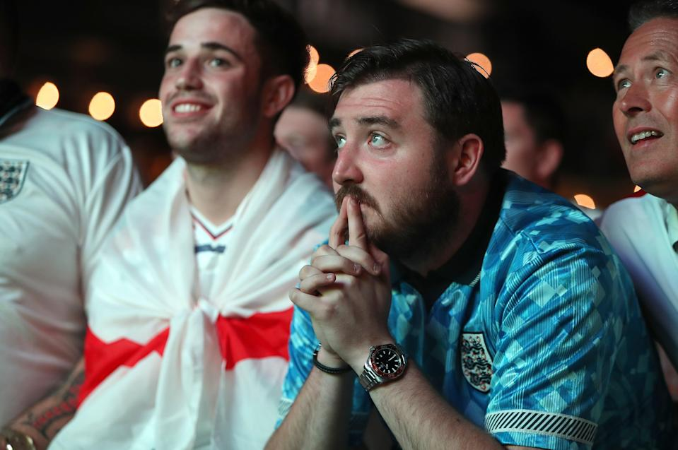 Fans watching England versus Denmark (PA Wire)