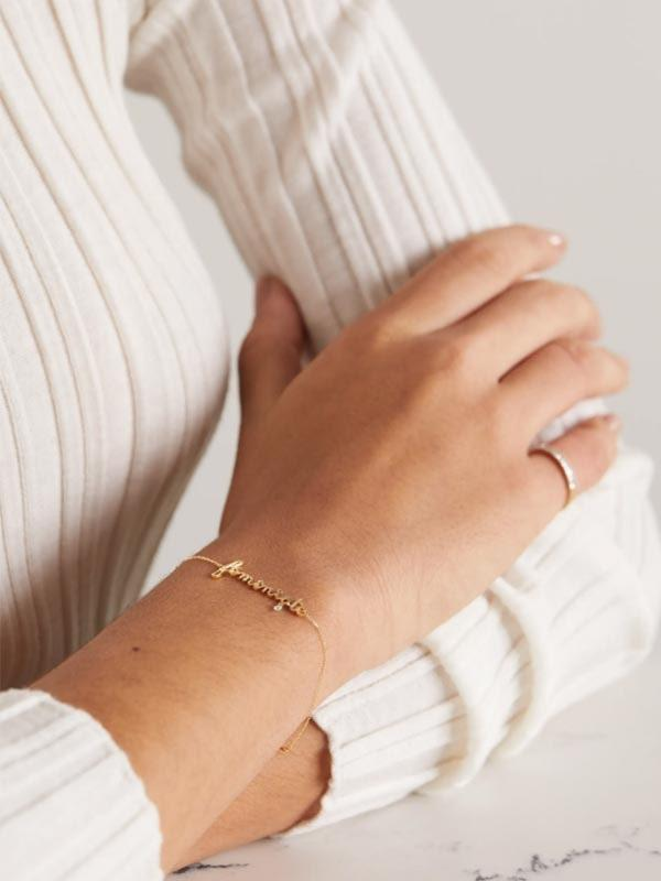 """For the new mom who prefers bracelets over rings, this one is simple and chic. $644, Net-a-Porter. <a href=""""https://www.net-a-porter.com/en-us/shop/product/persee/feministe-18-karat-gold-diamond-bracelet/1192513"""" rel=""""nofollow noopener"""" target=""""_blank"""" data-ylk=""""slk:Get it now!"""" class=""""link rapid-noclick-resp"""">Get it now!</a>"""