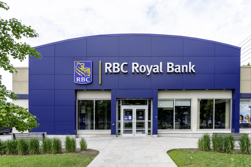 Toronto, Canada - June 16, 2019: One of RBC (Royal Bank of Canada) in Toronto, Canada. RBC is a Canadian multinational financial services.