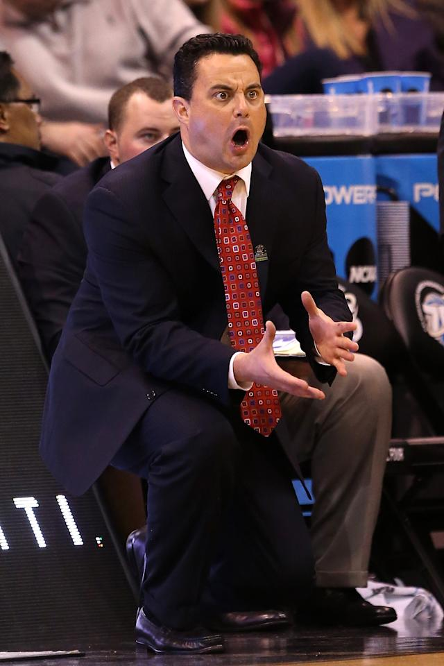 Head coach Sean Miller of the Arizona Wildcats reacts in the second half while taking on the Belmont Bruins during the second round of the 2013 NCAA Men's Basketball Tournament at EnergySolutions Arena on March 21, 2013 in Salt Lake City, Utah.  (Photo by Streeter Lecka/Getty Images)