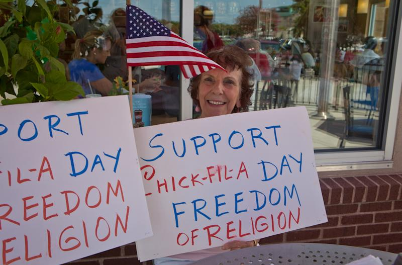 A Chick-fil-A boycott has seemingly backfired, as it's now widely embraced by the Right and supporters such as this woman recently celebrating 'Chick-Fil-A Appreciation Day' in Louisiana. (Photo: Julie Dermansky/Corbis via Getty Images)
