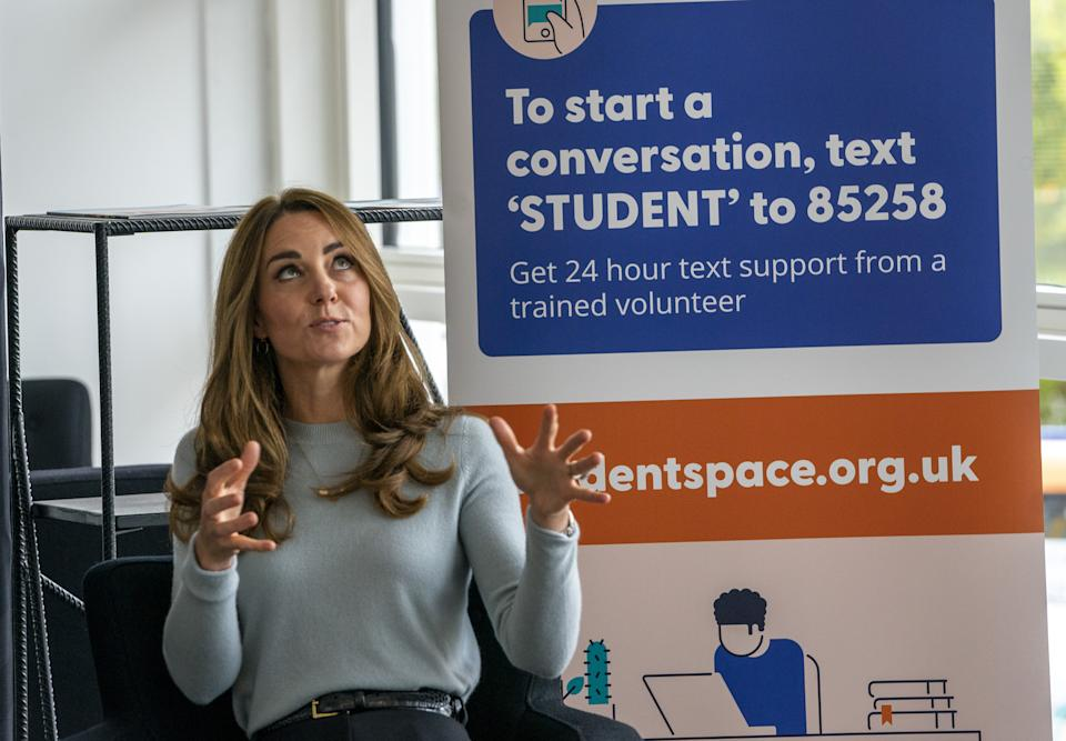 The Duchess of Cambridge during a visit to the University of Derby to meet first-year students and hear how the coronavirus pandemic has affected the start of their undergraduate life and what measures have been put in place on campus to support their mental health, ahead of World Mental Health Day on Saturday October 10.