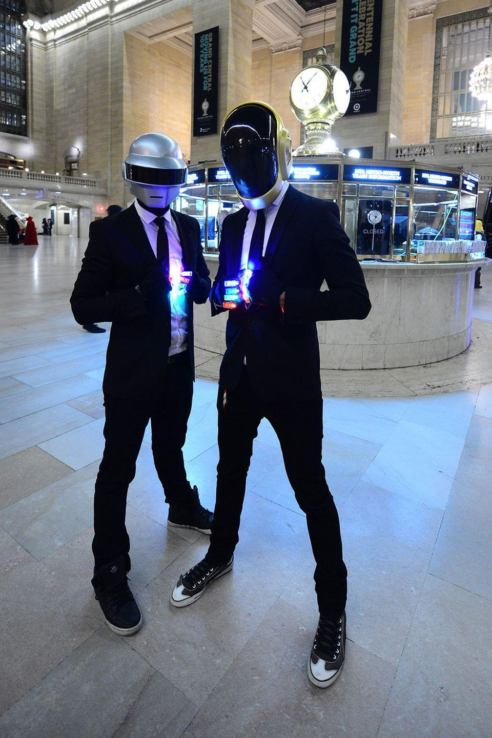 <p>We really had to double-check whether these were Daft Punk costumes or the actual band members.</p>