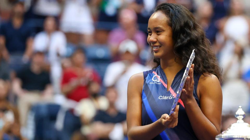 NEW YORK, NEW YORK - SEPTEMBER 11: Leylah Annie Fernandez of Canada celebrates with the runner-up trophy after being defeated by Emma Raducanu of Great Britain during their Women's Singles final match on Day Thirteen of the 2021 US Open at the USTA Billie Jean King National Tennis Center on September 11, 2021 in the Flushing neighborhood of the Queens borough of New York City. (Photo by Al Bello/Getty Images)