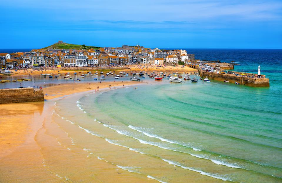 Picturesque St Ives, a popular seaside town with golden sand beach in Cornwall, England