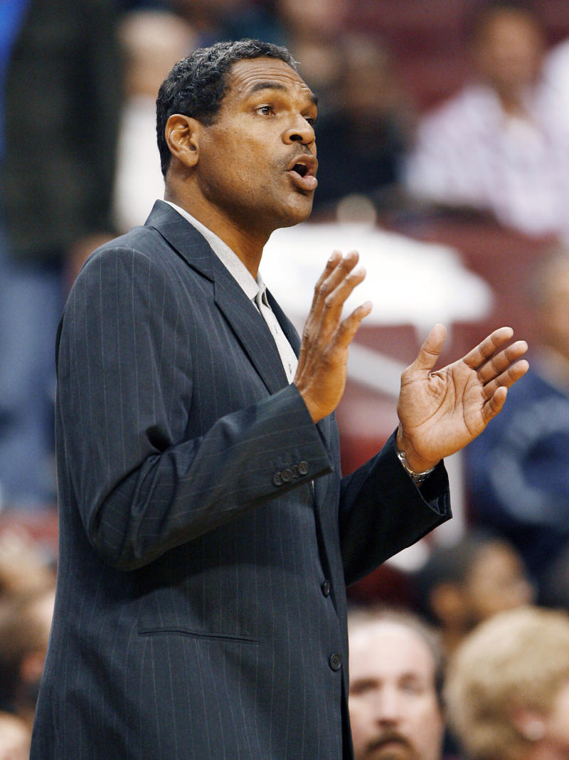 File- This Oct. 21, 2008 file photo shows Philadelphia 76ers coach Maurice Cheeks calling instructions to his players in the fourth quarter of a preseason NBA basketball game against the Cleveland Cavaliers in Philadelphia.  A person familiar with the situation tells The Associated Press that the Detroit Pistons have hired Cheeks as their new coach.  The person spoke Monday, June 10, 2013 on the condition of anonymity because the move has not yet been announced by the team.  (AP Photo/Tom Mihalek, File)