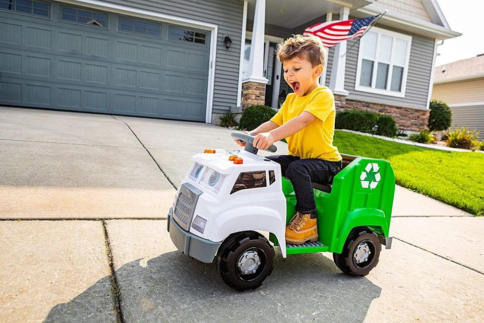 """It featuresmoving windshield eyes and a front bumper mouth and teaches kids about the importance of recycling and, well, trucks. It also says over 100 phrases and sound effects, which could very well qualify as trash talking.<br /><br /><strong>Promising review:</strong>""""It is easy to assemble right out of the box. It took about 20 minutes, and all you need is a screwdriver. You have to put the stickers on separately, so that also takes extra time. The interactive elements — singing/talking/moving face — are really well done! This truck was a splurge, but I think overall for all the things it does, as well as the accessories that come with it, it's great value for money."""" --<a href=""""https://www.amazon.com/dp/B088BBSVHK?tag=huffpost-bfsyndication-20&ascsubtag=5764152%2C14%2C40%2Cd%2C0%2C0%2C0%2C962%3A1%3B901%3A2%3B900%3A2%3B974%3A3%3B975%3A2%3B982%3A2%2C15993345%2C0"""" target=""""_blank"""" rel=""""noopener noreferrer"""">GC</a><br /><br /><strong>Get it from Amazon for <a href=""""https://www.amazon.com/dp/B088BBSVHK?tag=huffpost-bfsyndication-20&ascsubtag=5764152%2C14%2C40%2Cd%2C0%2C0%2C0%2C962%3A1%3B901%3A2%3B900%3A2%3B974%3A3%3B975%3A2%3B982%3A2%2C15993345%2C0"""" target=""""_blank"""" rel=""""noopener noreferrer"""">$150.38</a>.</strong>"""