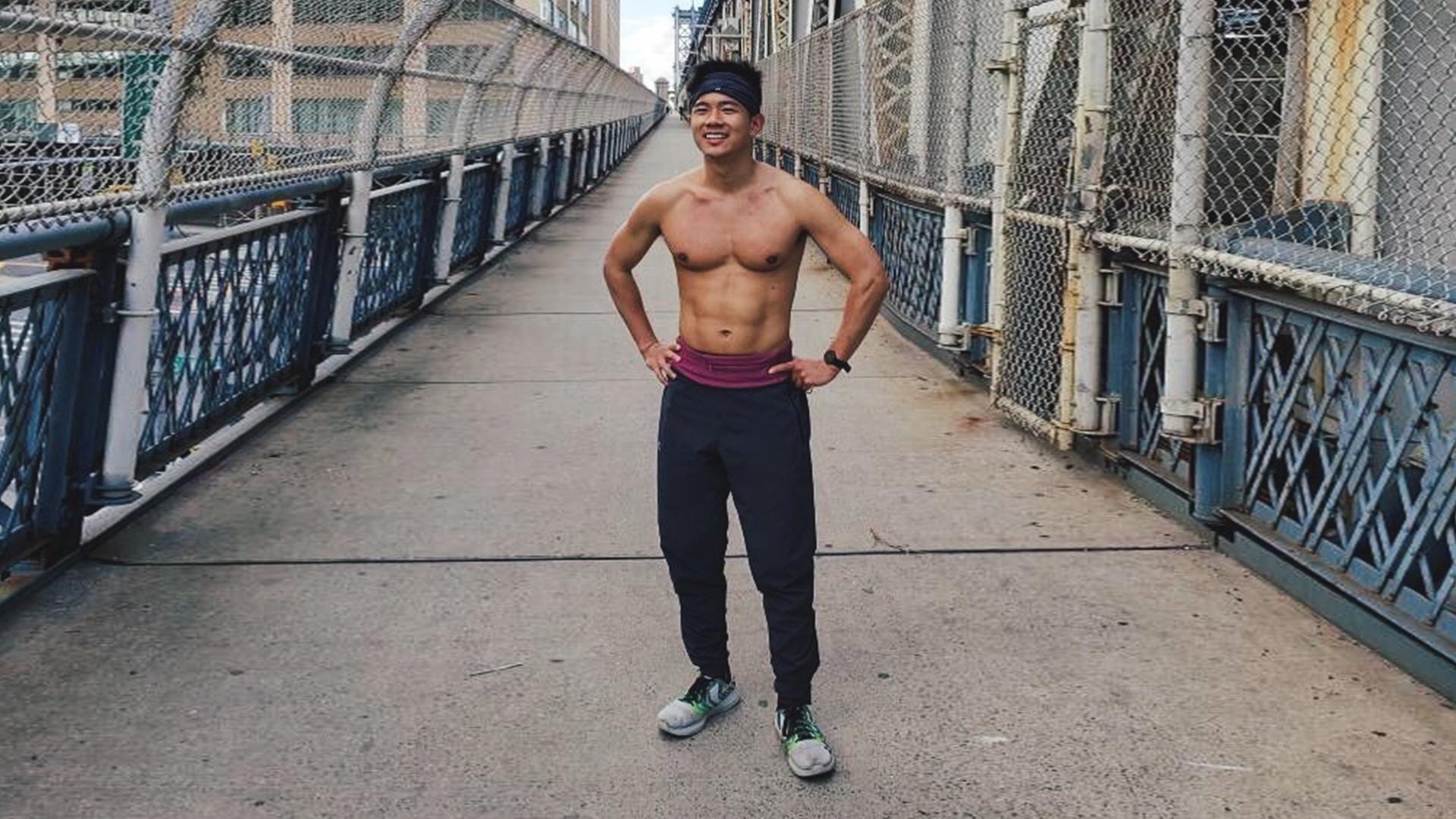 Leland Yu on the Manhattan Bridge during his Run for Chinatown