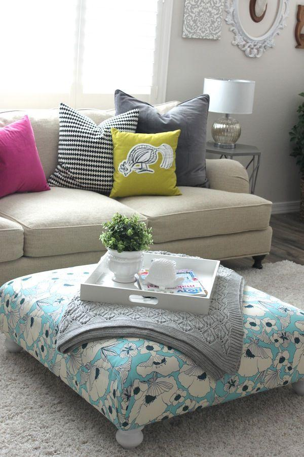 """<p>This blogger took a rough find from IKEA's as-is section and made it shine. By adding some cheerful floral fabric, a boring ottoman became so much more interesting.</p><p>See more at <a href=""""http://www.petitepartystudio.com/2014/03/diy-ottoman/"""" rel=""""nofollow noopener"""" target=""""_blank"""" data-ylk=""""slk:Petite Party Studio."""" class=""""link rapid-noclick-resp"""">Petite Party Studio.</a> </p>"""
