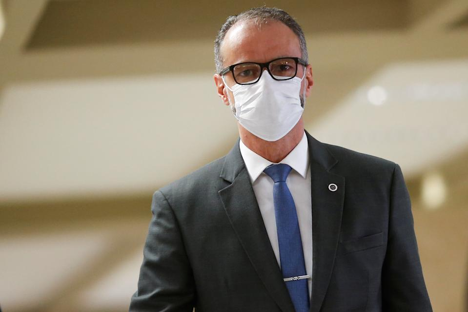 President of the National Health Surveillance Agency (ANVISA), Antonio Barra Torres walks before a meeting of the Parliamentary Inquiry Committee (CPI) to investigate government actions and management during the coronavirus disease (COVID-19) pandemic, at the Federal Senate in Brasilia, Brazil May 6, 2021. REUTERS/Adriano Machado
