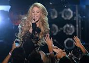 """<p>Shakira, who was born in Colombia, has had four top 10 hits: """"Whenever, Wherever,"""" """"Underneath Your Clothes,"""" """"Hips Don't Lie"""" (a #1 smash which featured Wyclef Jean) and """"Beautiful Liar"""" (a collabo with another single-name superstar, Beyoncé). (Photo: Ethan Miller/Getty Images)<br></p>"""