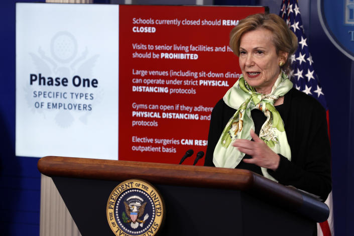 Dr. Deborah Birx, White House coronavirus response coordinator, speaks about the coronavirus at the White House, Thursday, April 16, 2020, in Washington. (AP Photo/Alex Brandon)
