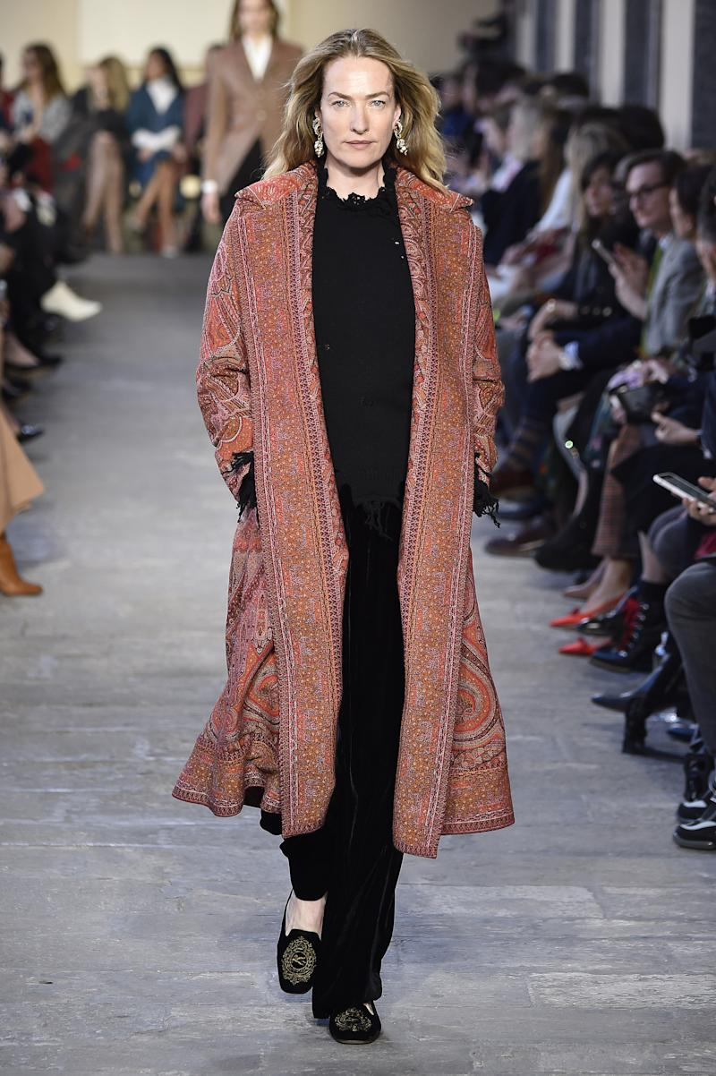 Twenty-eight years after appearing on one of Vogue's most famous covers alongside supers like Naomi Campbell and Cindy Crawford, 52-year-old Tatjana Patitz returned to the runway for Etro's fall/winter 2019 show during Milan Fashion Week in February 2019.
