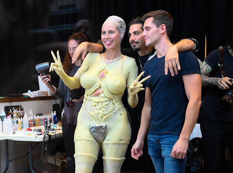 Heidi Klum being fitted for her Halloween costume in front of an Amazon store on October 31, 2019 in New York City.
