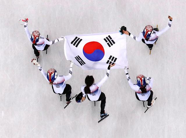 Short Track Speed Skating Events - Pyeongchang 2018 Winter Olympics - Women's 3000 m Final - Gangneung Ice Arena - Gangneung, South Korea - February 20, 2018. Kim Alang, Shim Sukhee, Minjeong Choi and Kim Yejin of South Korea celebrate. REUTERS/John Sibley TPX IMAGES OF THE DAY