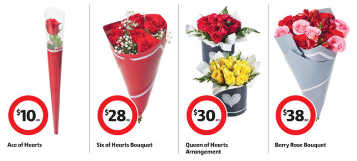 Valentine's Day flowers on sale at Coles.