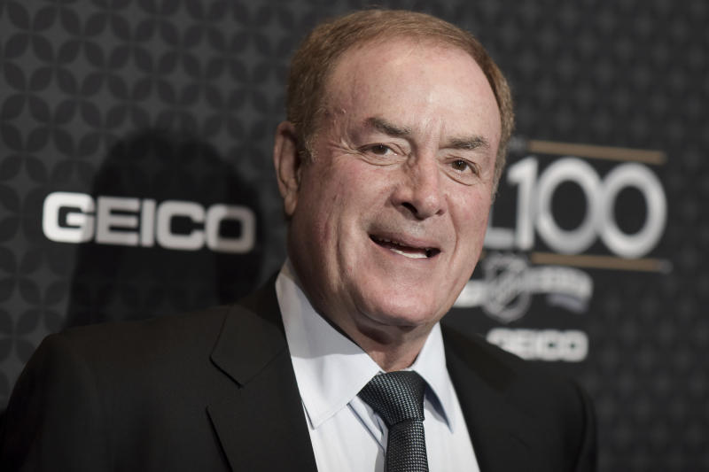 "FILE- In this Jan. 27, 2017, file photo, NBC Sunday Night Football announcer Al Michaels arrives at the The NHL100 Gala held at the Microsoft Theater in Los Angeles. Michaels has been a prime-time fixture in the NFL for decades as the voice of ""Monday Night Football"" on ABC for 20 years and is now entering his 14th season calling Sunday night games on NBC. (Photo by Richard Shotwell/Invision/AP, File)"