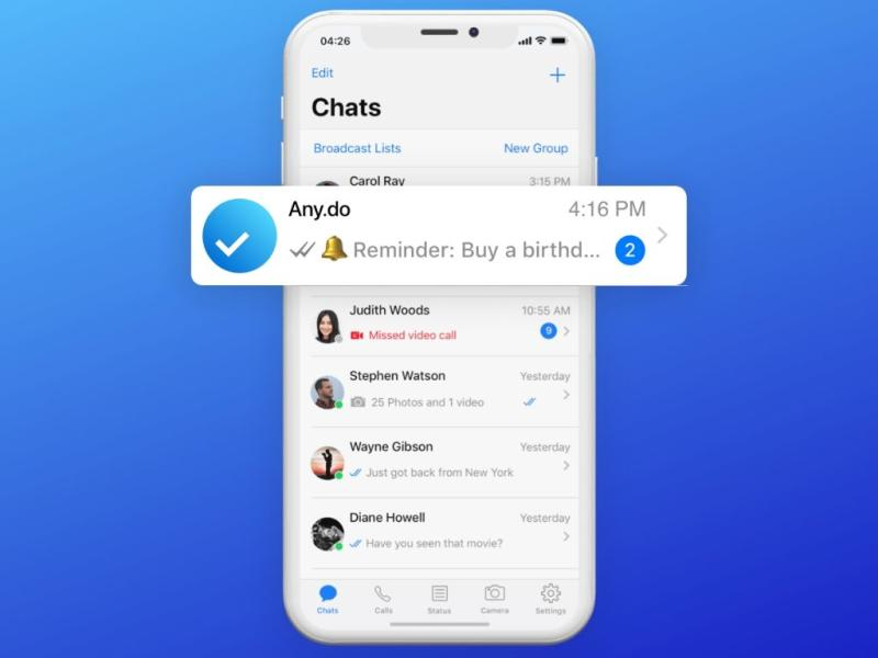 WhatsApp now lets you set reminders from within the app.