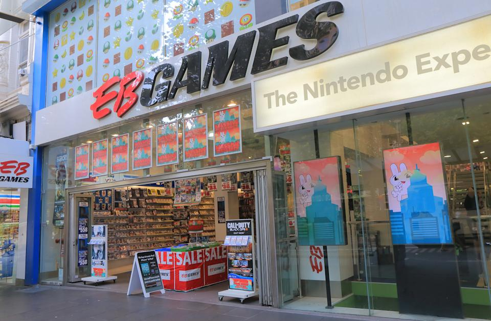 A picture of an EB Games shop in Melbourne Australia.