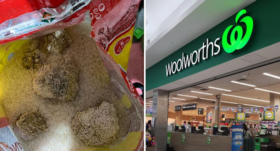 Photo shows clumps of fungus inside a bag of rice from Woolworths.