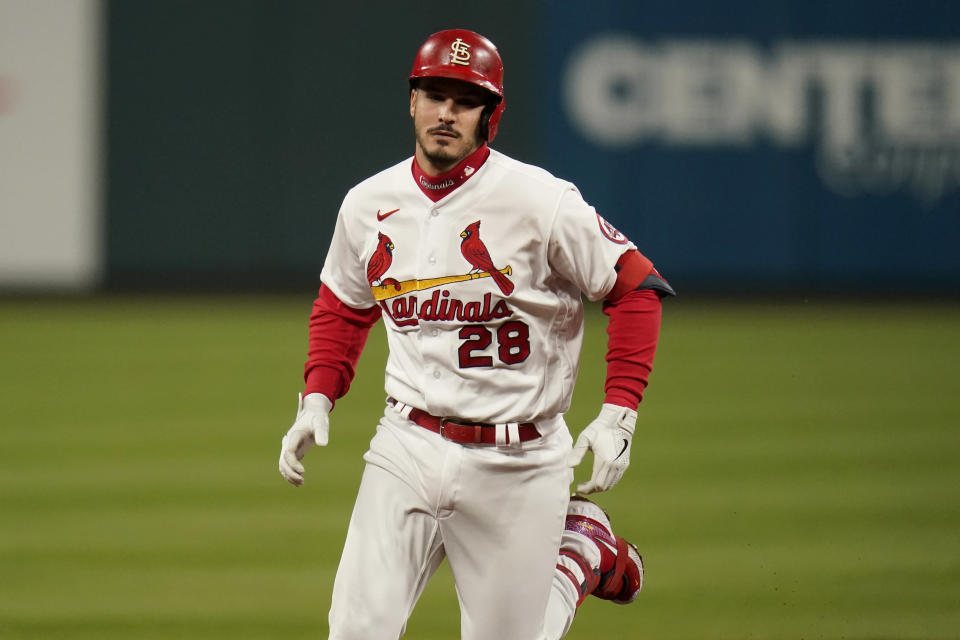 St. Louis Cardinals' Nolan Arenado rounds the bases after hitting a two-run home run during the third inning of a baseball game against the Washington Nationals Tuesday, April 13, 2021, in St. Louis. (AP Photo/Jeff Roberson)