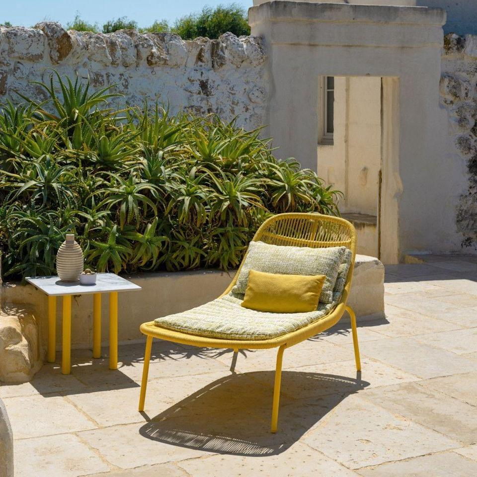 """<p>Palm leaves moved by sea breezes and pebbles smoothed by the pull of ocean tides were the fittingly calming inspirations for the design of this outdoor furniture collection by Ludovica and Roberto Palomba for Talenti. Those influences are visible in the pleasing rounded quality of this sun lounger's hardy aluminium frame. £1,644, <a href=""""https://www.vivalagoon.com/en/outdoor/sun-loungers/talenti-panama-sunbed-5-colours.html"""" rel=""""nofollow noopener"""" target=""""_blank"""" data-ylk=""""slk:vivalagoon.com"""" class=""""link rapid-noclick-resp"""">vivalagoon.com</a></p>"""