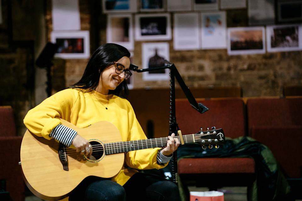 <p>Composer and actor Maimuna Memon in rehearsals</p>Helen Murray