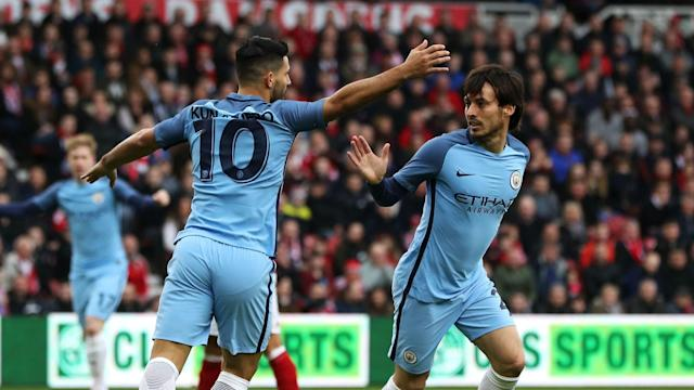 Manchester City had Sergio Aguero and David Silva involved in training on Monday as the pair attempt to be fit to face Manchester United.