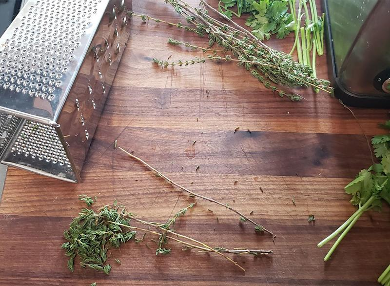 herbs destemmed using box grater