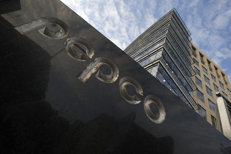 A general view of the exterior of the Pepco Holdings Inc corporate headquarters in Washington