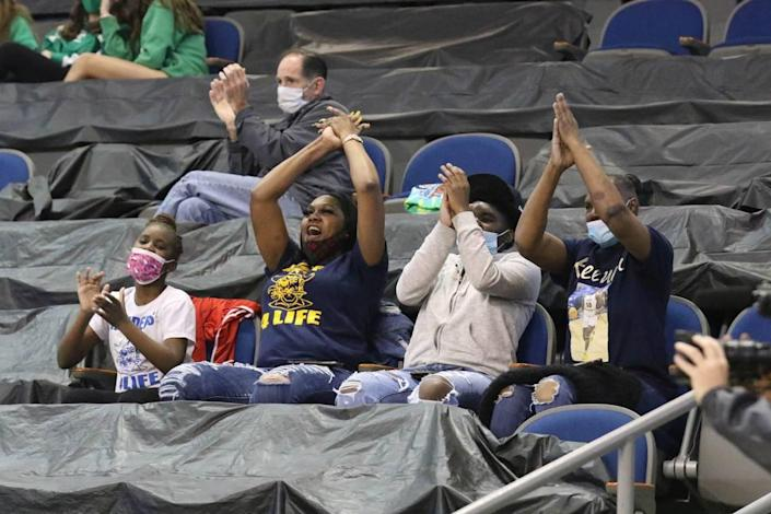 Keenan fans celebrate during the 3A state championship game between Keenan and Bishop England at the USC Aiken Convocation Center on Friday, March 5, 2021.