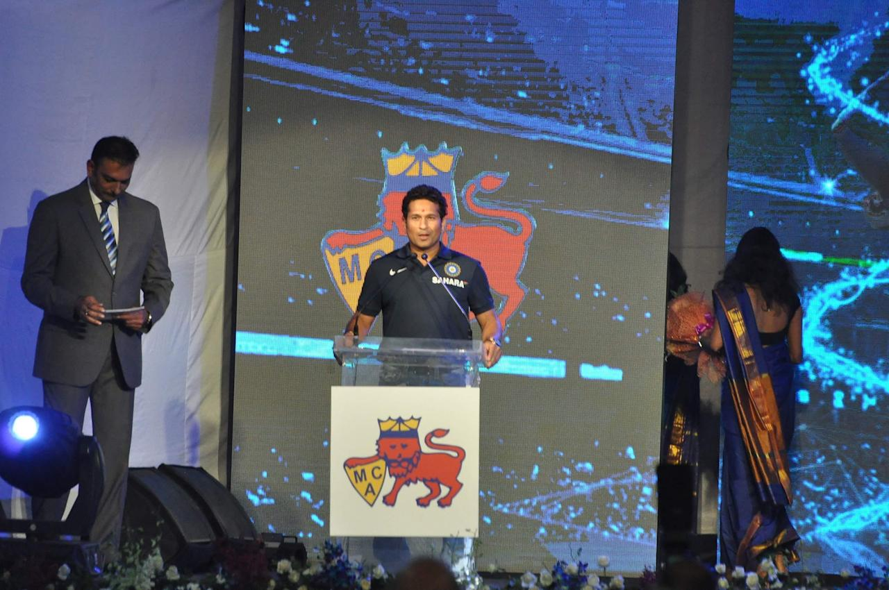 The Mumbai Cricket Association (MCA) on Monday honoured Sachin Tendulkar by renaming the MCA Sports Complex at Kandivili in Mumbai after the Little Master as  `Sachin Tendulkar Gymkhana club` on 11th November 2013. (Photo: IANS)