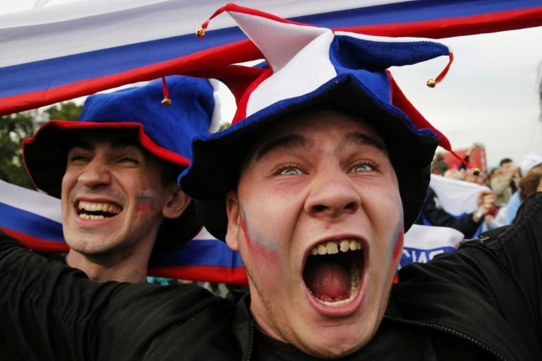 Russian fans celebrate as they watch their team take on Saudi Arabia at the World Cup