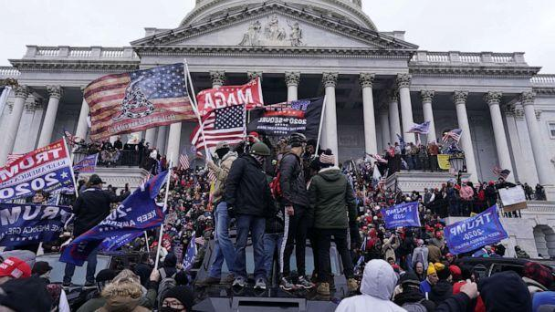 PHOTO: Supporters of President Trump storm the U.S. Capitol in Washington on Jan. 6, 2021. (Kent Nishimura/Los Angeles Times via Getty Images, FILE)